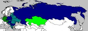 Mapa przedstawiająca kraje grupy Wikimedia CEE. Kolorem granatowym oznaczeni są założyciele, niebieskim: kraje zaproszone do współpracy, ciemnozielonym: kraje wspierające, jasnozielonym: obserwatorzy. (autor:Mate Forgacs, CC-BY-SA-3.0)