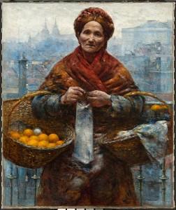"""Wśród reprodukcji pozyskanych od Muzeum Narodowego w Warszawie znalazł się m.in. obraz """"Żydówka z pomarańczami"""" Gierymskiego"""