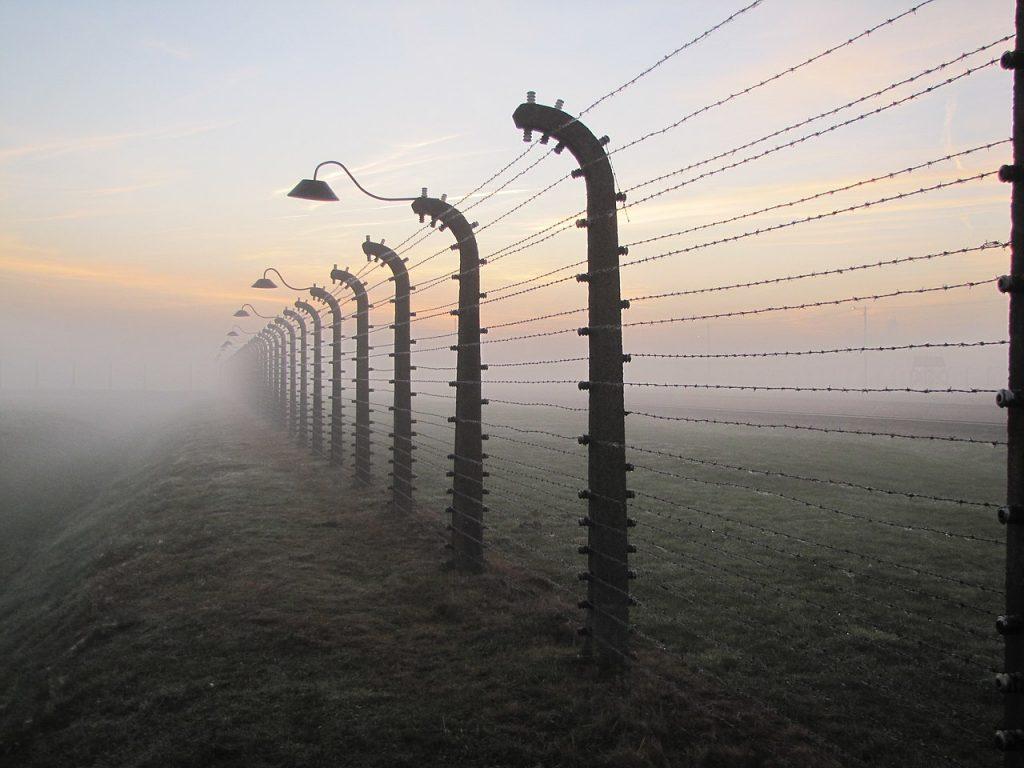 Widok ogrodzenia z drutu kolczastego we mgle
